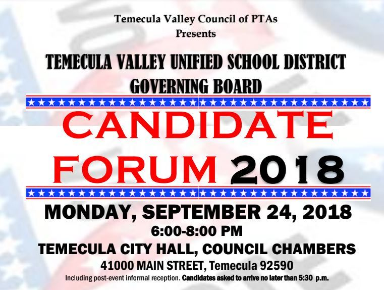pta hosted governing board candidate forum flyer for september 24